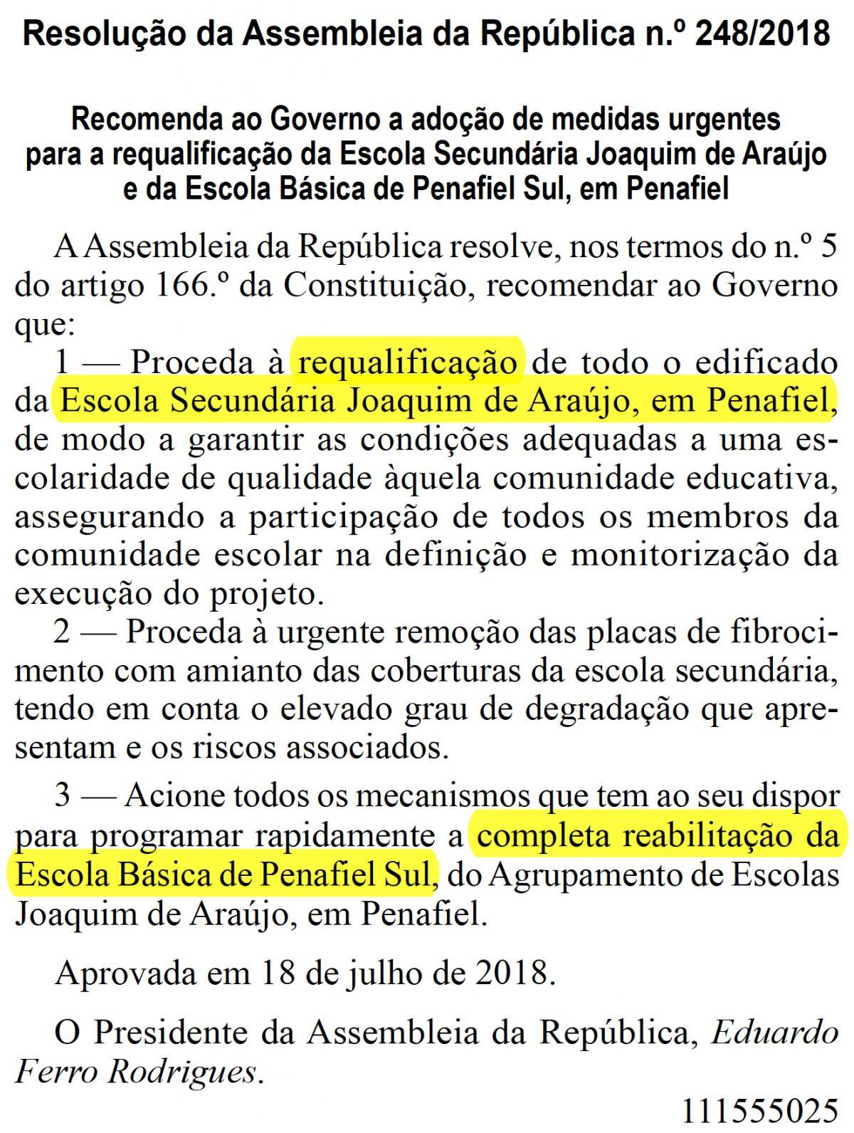 Resolução da Assembleia da República n.º 248/2018, DR, 1.ª série - N.º 153, de 9 de agosto